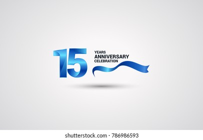 15 Years Anniversary celebration logotype colored with shiny blue, using ribbon and isolated on white background
