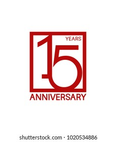15 years anniversary design logotype with red color in square isolated on white background for celebration