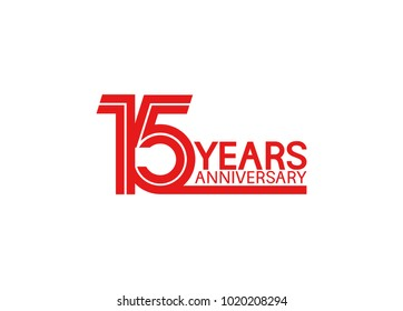 15 years anniversary design with red multiple line style isolated on white background for celebration