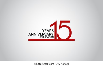 15 years anniversary design with simple line red color isolated on white background for celebration