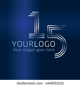15 years anniversary design template for company logo on blue gradient background for company celebration event.