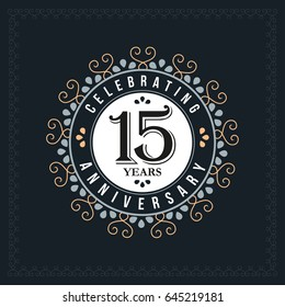 15 years anniversary design template. Vector and illustration. celebration anniversary logo. classic, vintage style