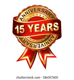 15 years anniversary golden label with ribbon.  Vector illustration.