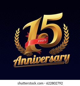 15 Years Anniversary Golden Logo Celebration with Red Ribbon