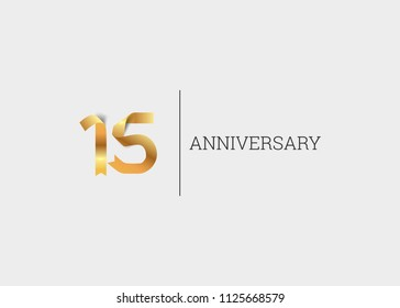 15 Years Anniversary Golden ribbon form number font. isolated on white background.
