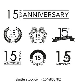 15 years anniversary icon set. 15th anniversary celebration logo. Design elements for birthday, invitation, wedding jubilee. Vector illustration.