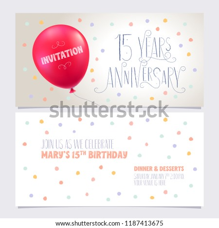 15 Years Anniversary Invite Vector Illustration Graphic Design Element With Air Balloon For 15th Birthday Card Party Invitation
