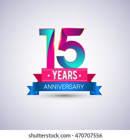 15 years anniversary logo, blue and red colored vector design