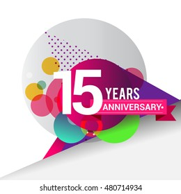 15 Years Anniversary logo with colorful geometric background, vector design template elements for your birthday celebration.