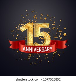 15 years anniversary logo template on dark background. Fifteenth celebrating golden numbers with red ribbon vector and confetti isolated design elements