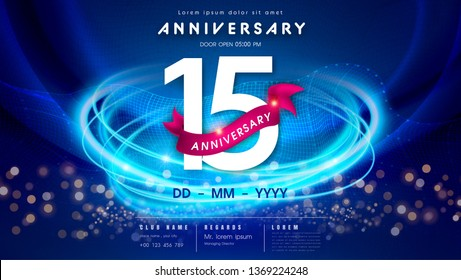 15 years anniversary logo template on dark blue Abstract futuristic space background. 15th modern technology design celebrating numbers with Hi-tech network digital technology concept design elements.