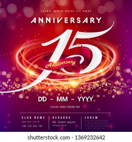 15 years anniversary logo template on red and pink Abstract futuristic space background.15th modern technology design celebrating numbers with Hi-tech network digital technology concept design element