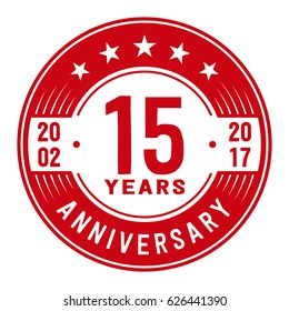 15 years anniversary logo template. Vector and illustration.