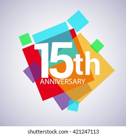 15 years anniversary logo, vector design birthday celebration with colorful geometric isolated on white background.