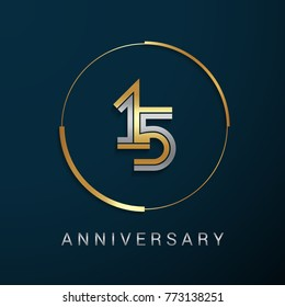 15 Years Anniversary Logotype with  Gold and Silver Multi Linear Number in a Golden Circle , Isolated on Dark Background