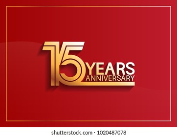 15 years anniversary logotype with golden multiple line style on red background for celebration