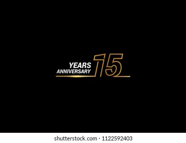15 Years Anniversary logotype with golden colored font numbers made of one connected line, isolated on white background for company celebration event, birthday
