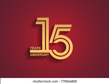 15 years anniversary logotype with linked number golden color isolated on red background for celebration event