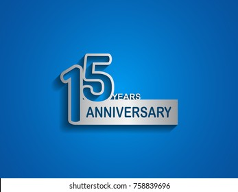 15 years anniversary logotype with outline number silver color on blue background