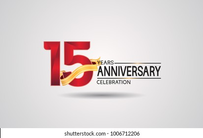 15 years anniversary logotype with red color and golden ribbon isolated on white background for celebration event