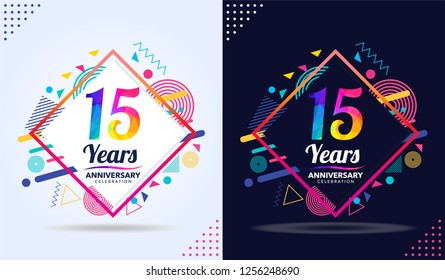 15 years anniversary with modern square design elements, colorful edition, celebration template design, pop celebration template design, white and black background