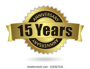 """15 Years Anniversary"" - Retro Golden Ribbon, EPS 10 vector illustration"