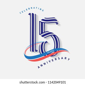 15 years Anniversary ribbon shape numbers with swoosh. Celebrating 15  years anniversary event party template.