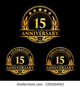 15 years anniversary set. 15th celebration logo collection. Vector and illustration.