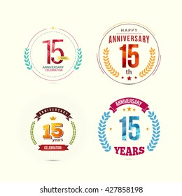 15 Years Anniversary Set with Low Poly Design and Laurel Ornaments