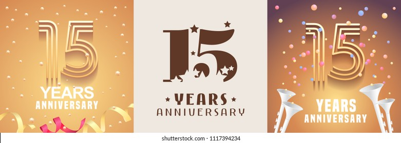 15 years anniversary set of vector icon, symbol. Graphic design element with festive golden background for 15th anniversary