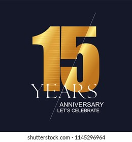 15 years anniversary vector icon, symbol, logo. Graphic design element for 15th anniversary birthday greeting card