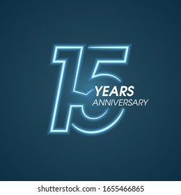 15 years anniversary vector icon,  logo. Graphic design element with neon light number and text composition for 15th anniversary
