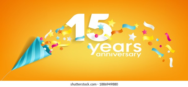 15 years anniversary vector icon, logo, greeting card. Design element with slapstick for 15th anniversary