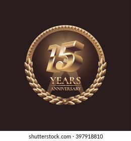 15 years anniversary vector icon, symbol, sign, label, logo. Gold decoration design element for 15th birthday
