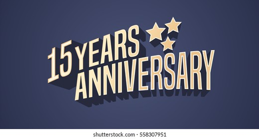 15 years anniversary vector icon, logo. Gold color graphic design element for 15th anniversary birthday card with stars and 3d lettering