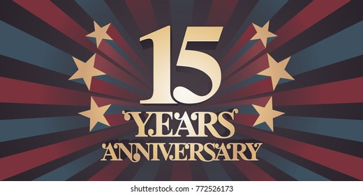 15 years anniversary vector icon, logo, banner. Design element with abstract vintage background for 15th anniversary card