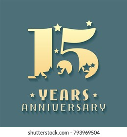 15 years anniversary vector icon, symbol, logo. Graphic design element for 15th anniversary birthday card