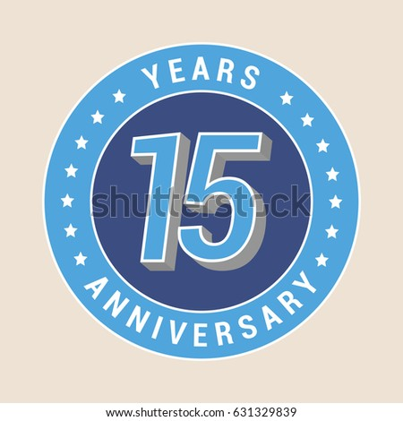 15 Years Anniversary Vector Icon Emblem Stock Vector Royalty Free