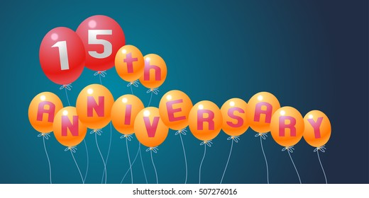 15 years anniversary vector illustration, banner, flyer, logo, icon, symbol, invitation. Graphic design element with air balloons for 15th anniversary, birthday card,  celebration decoration