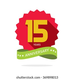 15 years anniversary vector label logo, shadow on circle, number 15 (one five), 15th years anniversary icon. Fifteen birthday party symbol. Fifteenth promotion sale sticker ribbon, poster, emblem