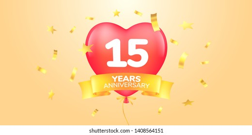 15 years anniversary vector logo, icon. Template banner, symbol with heart shape air hot balloon for 15th anniversary greeting card