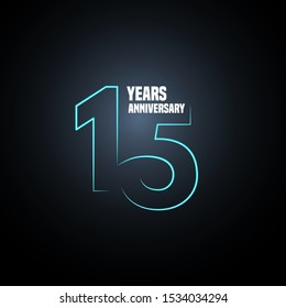 15 years anniversary vector logo, icon. Graphic design element with neon number for 15th anniversary