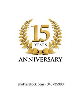 15 years anniversary wreath ribbon logo