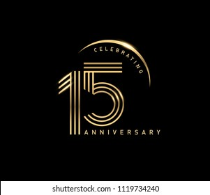 15 years gold anniversary celebration simple logo, isolated on dark background. celebrating Anniversary logo with ring and elegance golden color vector design for celebration,