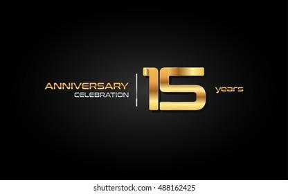 15 years gold anniversary celebration logo, isolated on dark background