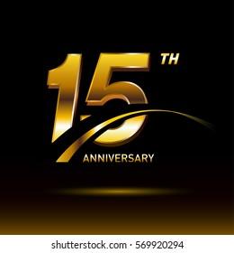 15 years golden anniversary logo celebration