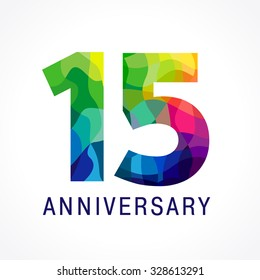 15 years old celebrating colored logo. Anniversary numbers 15 th. Fifteen bright facet congrats logotype. Greetings celebrates with 3D volume. Stained glass mosaic background or % off.