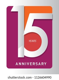 15 years old celebrating modern logo. Colored happy anniversary template numbers. vector design for celebration, invitation card, and greeting card