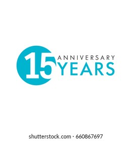 15 years old round logo. Anniversary year of 15 th vector key numbers. Greetings, ribbon, celebrates.