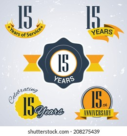 15 years of service/ 15 years / Celebrating 15 years / 15th Anniversary - Set of Retro vector Stamps and Seal for business